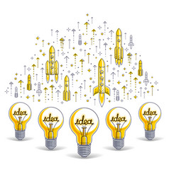Group of shining light bulbs and set of launching vector