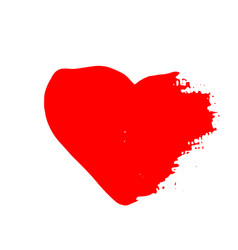 grunge red heart valentine day print vector image