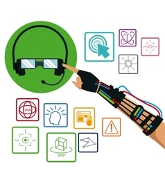 Hand using wired glove headset vr technology items vector