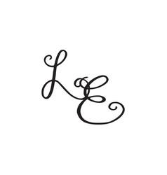 Handwritten monogram le icon vector