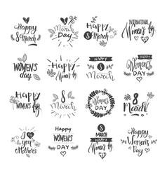 happy women day lettering set grunge ink badges vector image