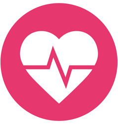 Heart rate in circle icon vector