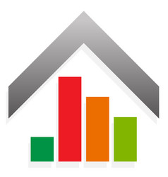 House icon with bar chart bar graph for value vector