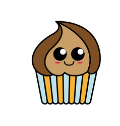 Kawaii cupcake icon vector