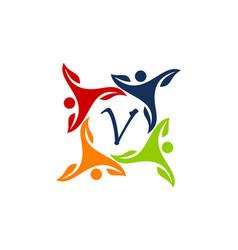 Leaf people health together letter v vector