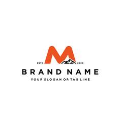 Letter m mountain logo design concept vector