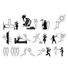 Man died and become a ghost icons set depict a vector