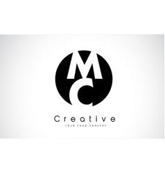 Mc letter logo design inside a black circle vector