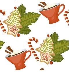 Merry christmas coffee or tea warm beverage vector