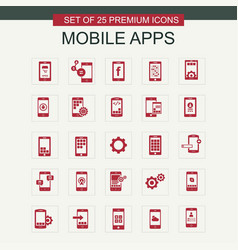 mobile apps icons set red vector image