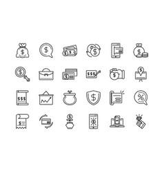 Money business cash finance icon collection line vector