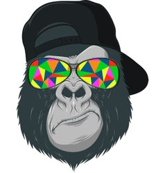Monkey with glasses vector