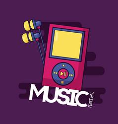 mp3 earphones music festival background vector image