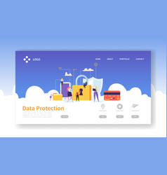 network security landing page data protection vector image