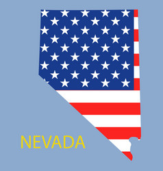 Nevada state of america with map flag print on vector