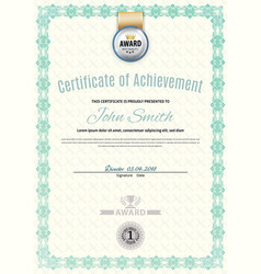 official white certificate of a4 format with green vector image
