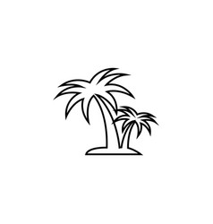 Palm tropical tree line icon silhouette black vector