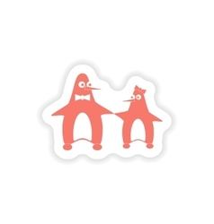 Paper sticker on white background couple penguins vector