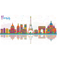 paris france city skyline with color buildings vector image