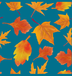 Pattern leaves autumn watercolor vector