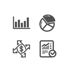 Payment exchange column chart and pie chart icons vector