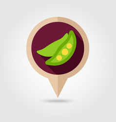 Pea flat pin map icon vegetable vector