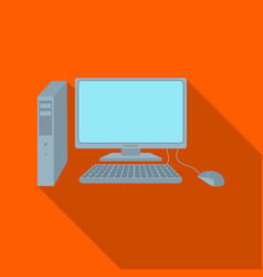 personal computer icon in flat style isolated on vector image