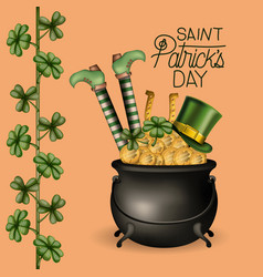 Poster happy saint patricks day with cauldron full vector