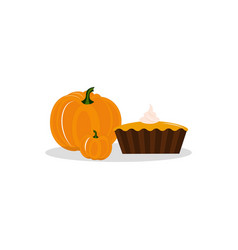 pumpkins and pie icon vector image