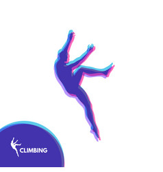 Rock climber silhouettes bouldering sport for vector