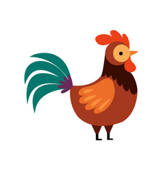 Rooster with bright plumage farm cock side view vector
