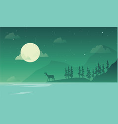 Scenery at night mountain silhouettes vector