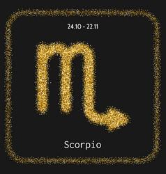 Scorpio golden sign of zodiac flat linear icons vector