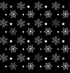 Seamless navy black background with snowflakes vector
