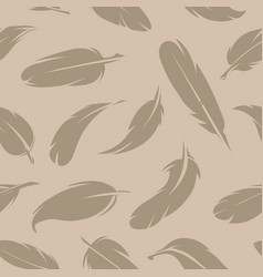 seamless pattern various feathers monochrome vector image