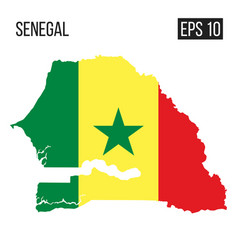 senegal map border with flag eps10 vector image