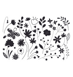 set flowers and leaves leaf black silhouettes vector image