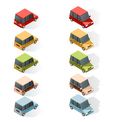 set of isometric car icons vector image vector image
