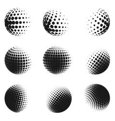 set of minimalistic shapes halftone spheres vector image