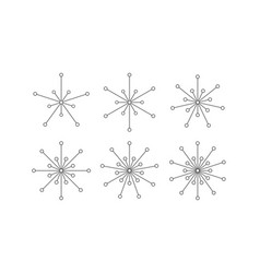 Set of snowflakes of lines and circles vector