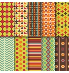 set seamless colorful retro patterns geometric vector image