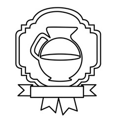 silhouette border heraldic decorative ribbon with vector image