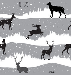 snow winter landscape with deers winter forest vector image