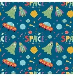 Space Aliens Cartoon Seamless Pattern vector image