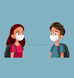 students wearing masks during pandemic school vector image