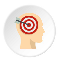 Target goal in human head icon circle vector