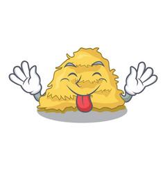 Tongue out hay bale mascot cartoon vector