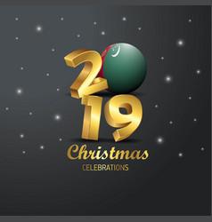 Turkmenistan flag 2019 merry christmas typography vector