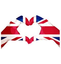 Two palms make heart shape british flag vector