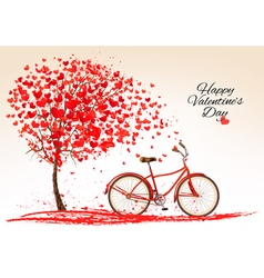 Valentines day background with a bike and a tree vector image